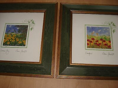 PAIR OF ART CARD PRINTS by SONIA DUCKETT - Signed & Titled in Matching Frames