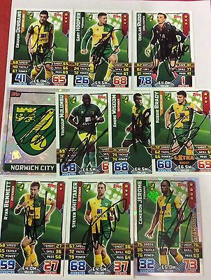 Match Attax 15 16 Signed 10 Norwich City Cards .