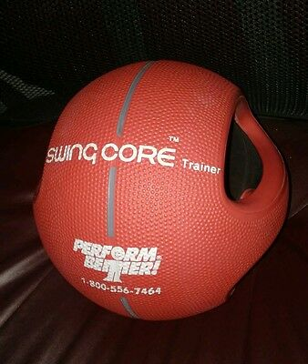 Medicine Ball 6 lb Dual Grip Power Swing Core Trainer Double Handle Weight. Red