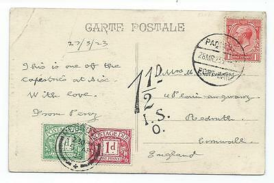 Eb112. 1923 Paquebot Port Said with scarce London 1½d due marking.