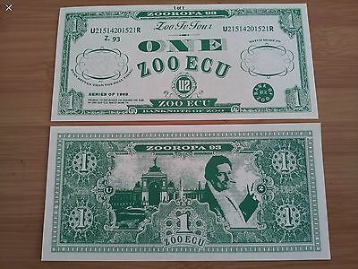 "U2 ""ZOOROPA 93 TOUR ORIGINAL ZOO ECU Banknote of ZOO. VGC"