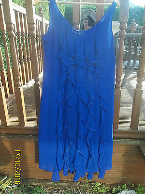 Size 14  Blue Cocktail/party/evening Dress Sleeveless  Knee Length M&s Per Una