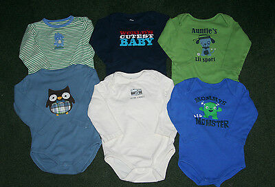 Toddler Baby Boy Oneies Lot, 6 Long Sleeve Shirts Size 18-24 Months