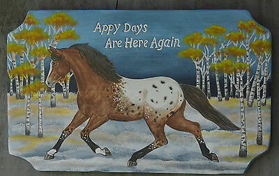 "Appaloosa Horse Art Fall ""Appy Days"" Wood Sign 15"""