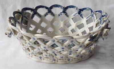 """C18Th Caughley Blue And White Basket """" Pine Cone """" Pattern A/f"""