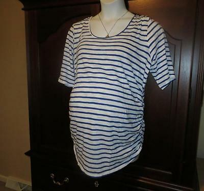NEW 1X MOTHERHOOD Maternity TOP Tee Blue Stripe Ruched Plus Size Pretty! NWT