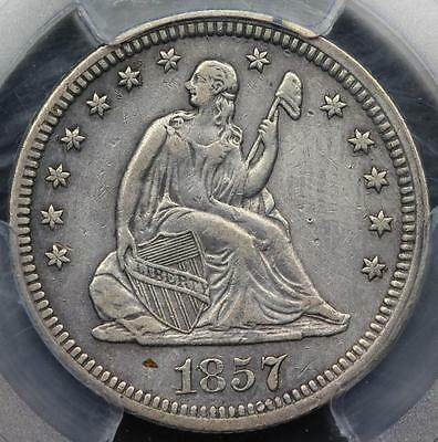 1857 Seated Liberty Quarter PCGS XF Details Cleaning - *DoubleJCoins*