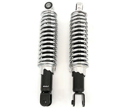 "Emgo Black With Chrome Spring Shorty Shocks - Eye to Clevis - 290mm (11.4"")"