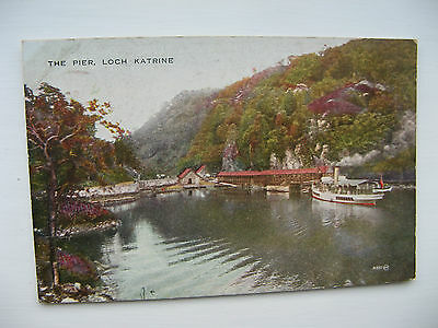 THE PIER, LOCH KATRINE - VALENTINES posted card from 1935