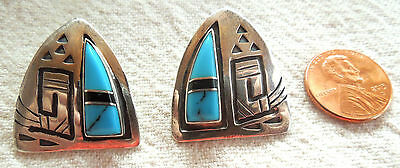 Turquoise EARRINGS Sterling Silver Native Overlay Vintage 10.9 Grams FREE SHIP
