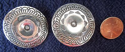 LARGE Navajo Round Sterling EARRINGS Clip-On *P YELLOWHORSE* 32.4 Grams*