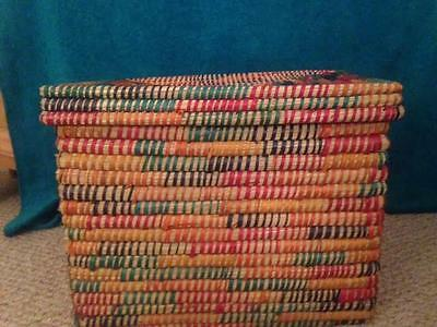 """Get Organized Colorful Woven Kaisa Grass Basket w Top  16"""" H 17""""W 22""""L SALE!!"""