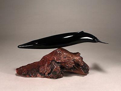 """FIN WHALE """"Ebonite"""" Figurine New Direct from JOHN PERRY 12in long Sculpture"""