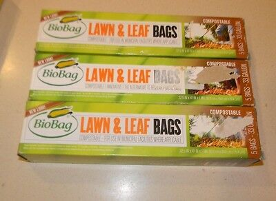 3 boxes 33 gallon Compostable Biobag Lawn & Leaf Bags 5-Count