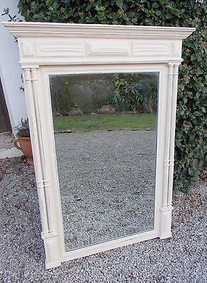 mirror, antique painted French mirror, overmantel,