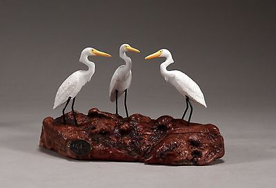 3 Egrets Sculpture New Direct from John Perry Figurine on Burl Wood 5in Long