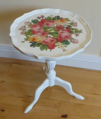 Hand decoupaged side coffee table vintage roses shabby chic