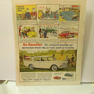 Rambler Station Wagon Car Advertising Print Ad Car Art 1959 Original