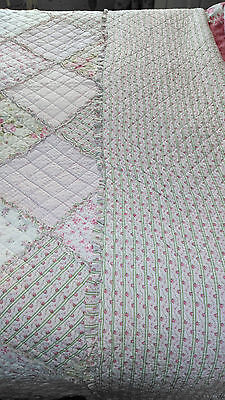 Vintage patchwork quilt cotton country cottage shabby chic roses stripes floral