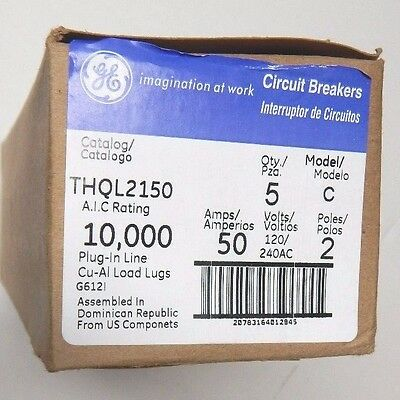 (5) GE THQL2150 2 Pole 50 Amp Circuit Breaker NEW