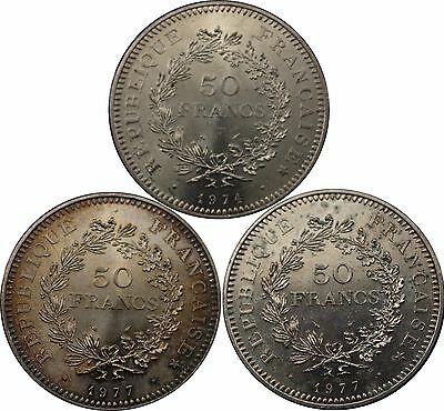 1974 1977 X 2 France 50 Francs Hercules silver coins 3 coins