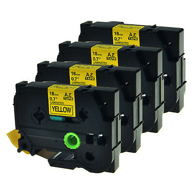 "4 PK TZ Tze-641 3/4"" Black on Yellow Tape For Brother P-touch PT2100 Label Maker"