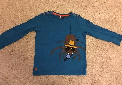 Joules 1-2 Years Spy-der T Shirt Blue With Spider Appliqué