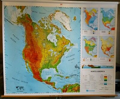 Nystrom Sculptural Relief North America 1SR5 Pull Down Classroom School Map