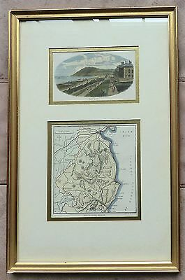 c1879 MAP of County Wicklow – Ireland + engraving Bray Head