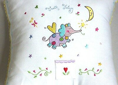 """Tooth Fairy 12""""X12"""" Colorfully Embroidered Plump Pillow, A Delightful Keepsake !"""