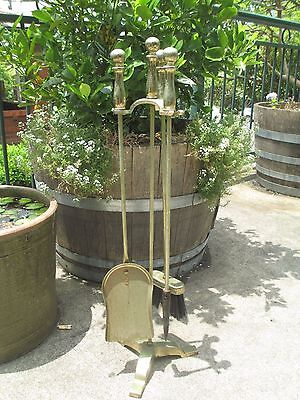 Vintage Brass Metal Fire tools set and stand