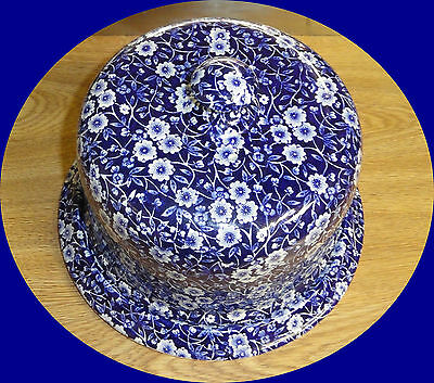 """Vintage Staffordshire cheese dish """"Calico"""" in Blue"""