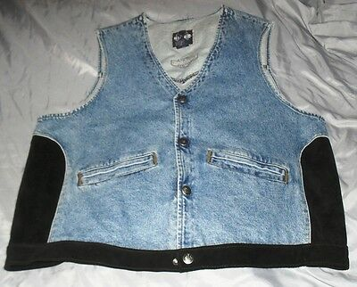 Harley Davidson Blue Jean & Leather Vest Size XL
