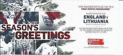 2017 England v Lithuania World Cup Qualifier Free Programme Voucher