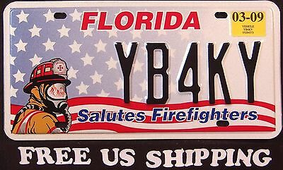 """FLORIDA """" FIREFIGHTER - FIRE FIGHTER """" FL Graphic License Plate FREE US SHIP"""