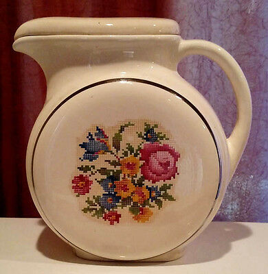 """Harker Hoteven 8"""" Round Pitcher with Lid Floral Decal"""