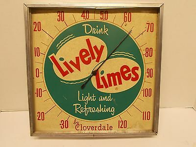 Vintage 12'' Square Thermometer Advertising LIVELY LIMES Soda by CLOVERDALE