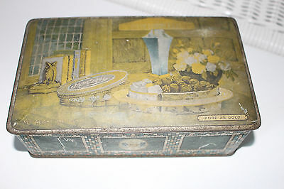 Vintage TINDECO Candy Tin Metal Hinged Box PURE AS GOLD Art Deco Lamp