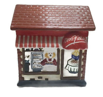 Mrs. Fields Bakery Pastry Shoppe Storefront Brick Look Red Awning Cookie Jar