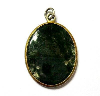 Antique Victorian Gold Plated Moss Agate Mourning Pendant
