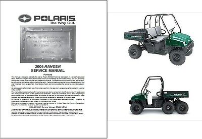 2004 Polaris Ranger TM / 2X4 / 4X4 / 6X6 Service Manual on a CD