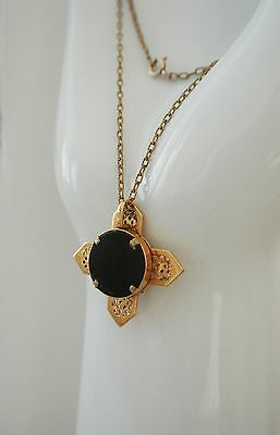 Antique French  religious christian gold plated cross pendant onyx