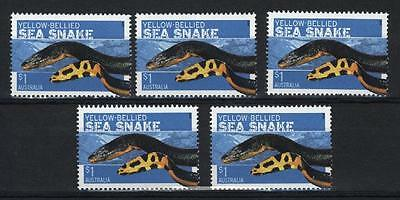 "Australia 2006  Dangerous Aust.  $1 ""yellow-Bellied Sea Snake "" X (5) Stamps Mnh"