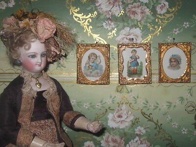 SALE! THREE ANTIQUE MINIATURE DIE CUT DOLLHOUSE PICTURES with ORMOLU FRAMES!