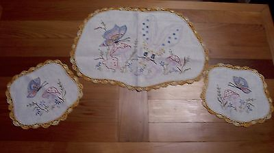 Vintage Quality Hand Crafted   Butterfly & Bunny Embroidered 3 Piece Cheval Set