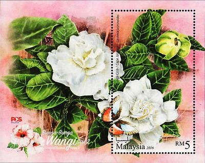 Malaysia 2016 Scented Flowers M/S MNH insect butterfly bee unusual (fragrance)