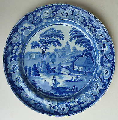 Antique Wild Rose Transferware Plate in Blue and White -