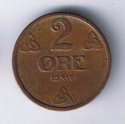 1947 Norway 2 ore Norweigan Coin Viking NICE !