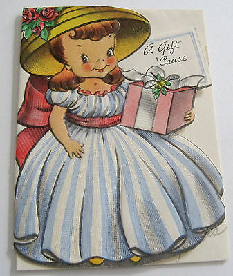 Used Vtg Little Gift Card Cute Old Fashioned Girl in Big Hat Holding Present
