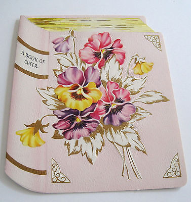 """Used Vtg Get Well Card A """"Book"""" of Cheer with Pretty Pansies & Golden Leaves"""